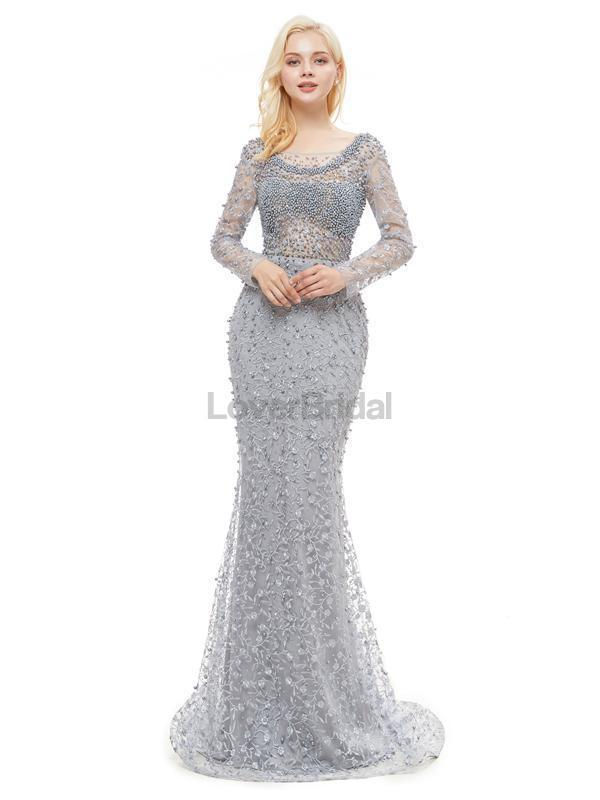 Long Sleeves Lace Beaded Mermaid Evening Prom Dresses, Evening Party Prom Dresses, 12045