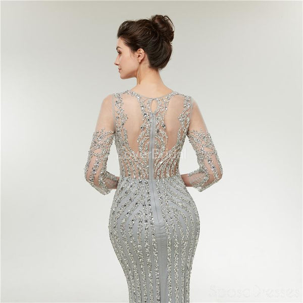 Long Sleeves Lace Beaded Mermaid Long Evening Prom Dresses, Evening Party Prom Dresses, 12003