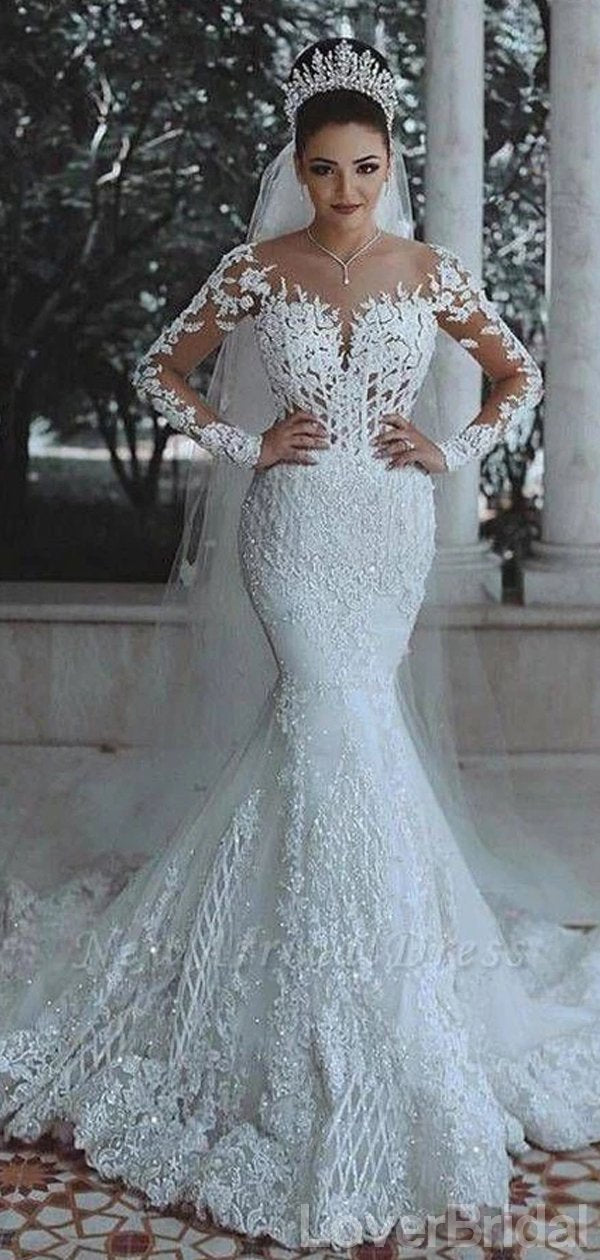 Long Sleeves Lace Beaded Mermaid