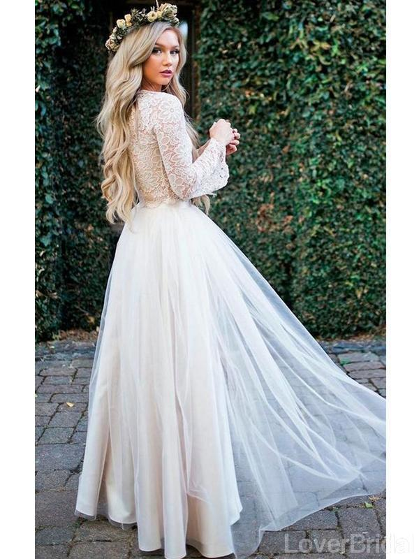Long Sleeves Lace Jewel Neck Modest