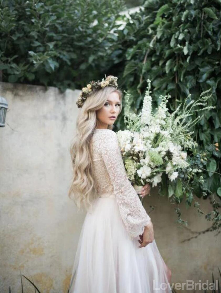 Long Sleeves Lace Jewel Neck Modest Cheap Wedding Dresses Online, Cheap Unique Bridal Dresses, WD598