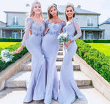 Long Sleeves Mermaid Lace Light Blue Cheap Bridesmaid Dresses Online, WG530