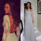 Long Sleeves Open Back Charming Silver Cheap Long Prom Dress, WG512
