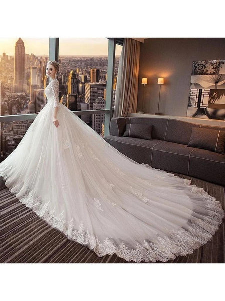 Long Sleeves Open Back Luxurious Wedding Dresses Online, Cheap Bridal Dresses, WD642