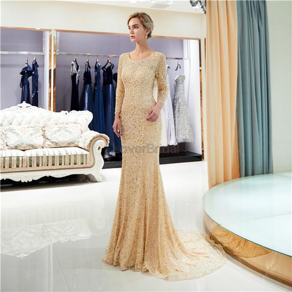 Long Sleeves  Open Back Mermaid Gold Beaded Evening Prom Dresses, Evening Party Prom Dresses, 12058