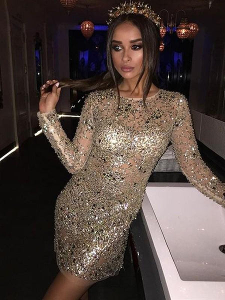 Long Sleeves Sexy Rhinestone Mermaid Tight Homecoming Dresses Online, CM710