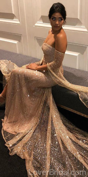 Long Sleeves Sparkly Mermaid Long Evening Prom Dresses, Cheap Custom Sweet 16 Dresses, 18562