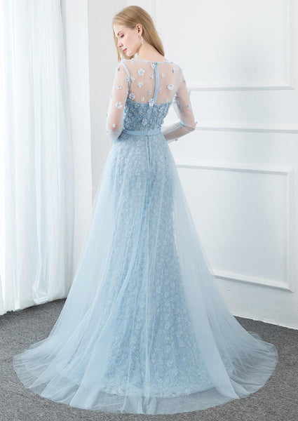 Long Sleeves Tiffany Blue Mermaid Evening Prom Dresses, Evening Party Prom Dresses, 12287