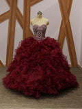 Maroon Ball Gown Beaded Organza Long Evening Prom Dresses, Cheap Sweet 16 Dresses, 18359