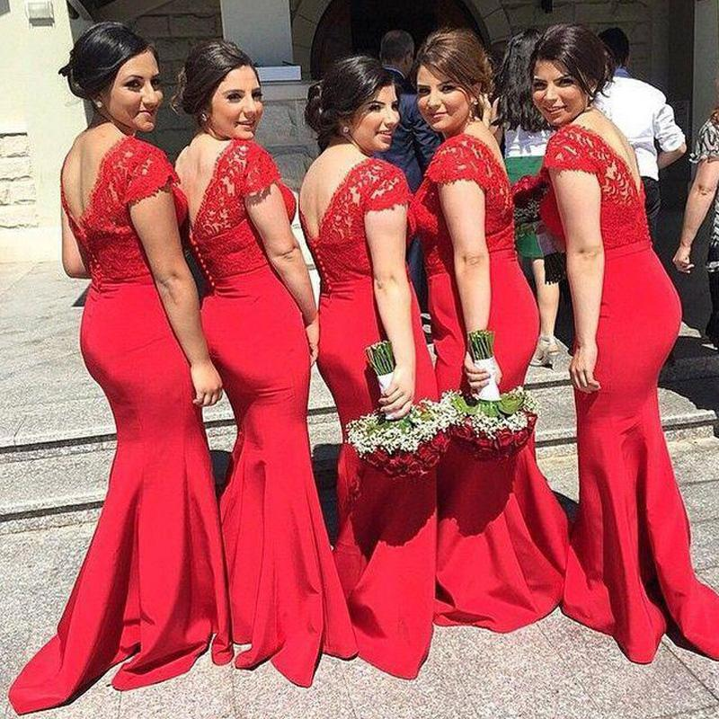 Mermaid Cap Sleeves Lace Red Cheap Bridesmaid Dresses Online, WG831