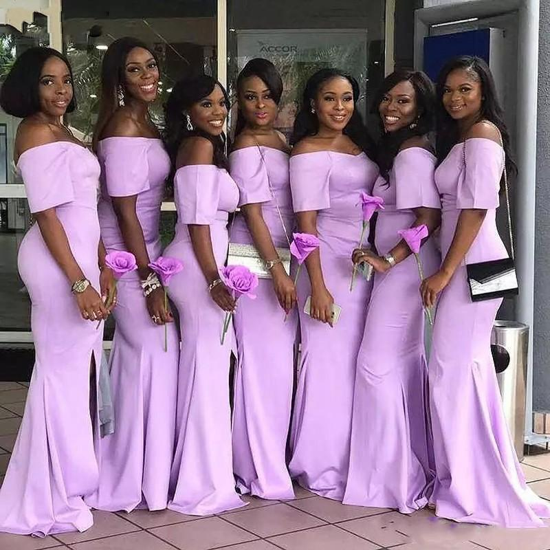 Mermaid Off The Shoulder Pink Cheap Long Bridesmaid Dresses Online, WG857
