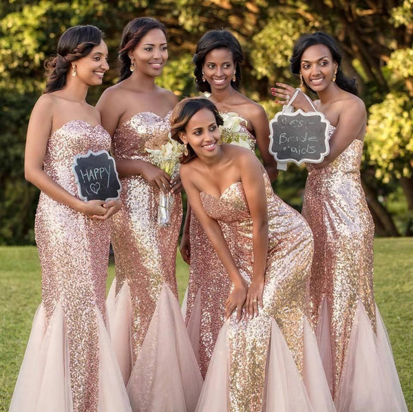 Mermaid Rose Gold Sequin Long Bridesmaid Dresses Online, Cheap Bridesmaids Dresses, WG745