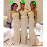 Mermaid Sexy Mismatched Long Lace Top Wedding Bridesmaid Dresses, WG344