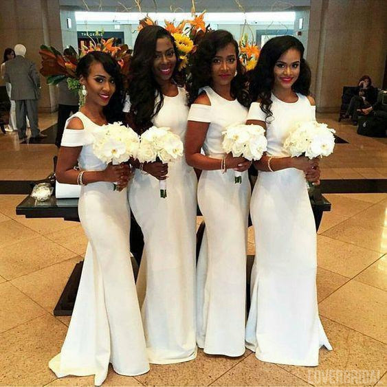 Mermaid White Sexy Inexpensive Elegant Long Bridesmaid Dresses, WG371
