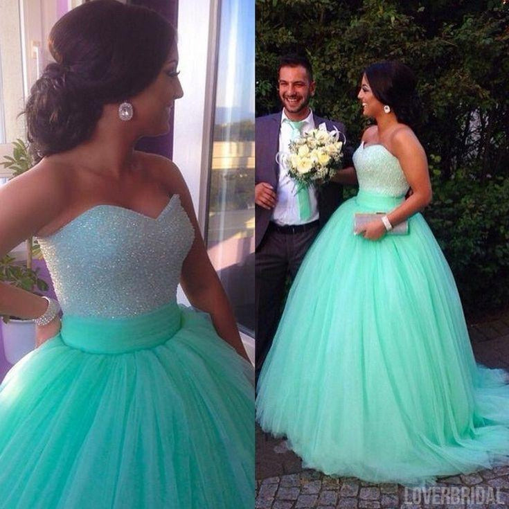 Mint Sweetheart Charming Affordable Tulle Long Prom Dress Ball Gown, WG541