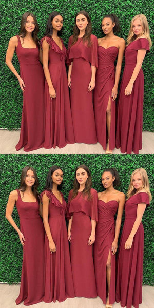 Mismatched Chiffon Dark Red Long Cheap Bridesmaid Dresses Online, WG682