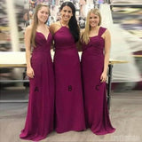 Mismatched Chiffon Purple Cheap Long Bridesmaid Dresses, WG130