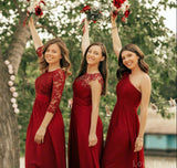 Mismatched Dark Red Chiffon Cheap Bridesmaid Dresses Online, WG633