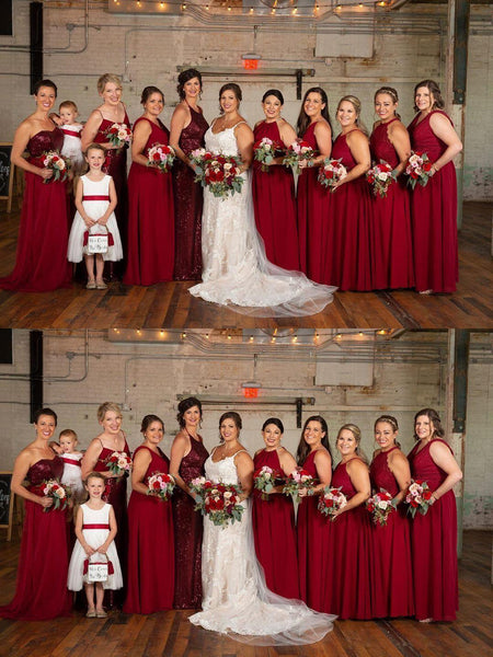 Mismatched Dark Red Long Cheap Bridesmaid Dresses Online, Cheap Bridesmaids Dresses, WG686