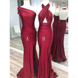 Mismatched Dark Red Mermaid Cheap Long Bridesmaid Dresses Online, WG557