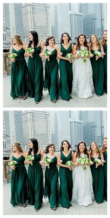 Mismatched Emerald Green Chiffon Cheap Bridesmaid Dresses Online, WG631