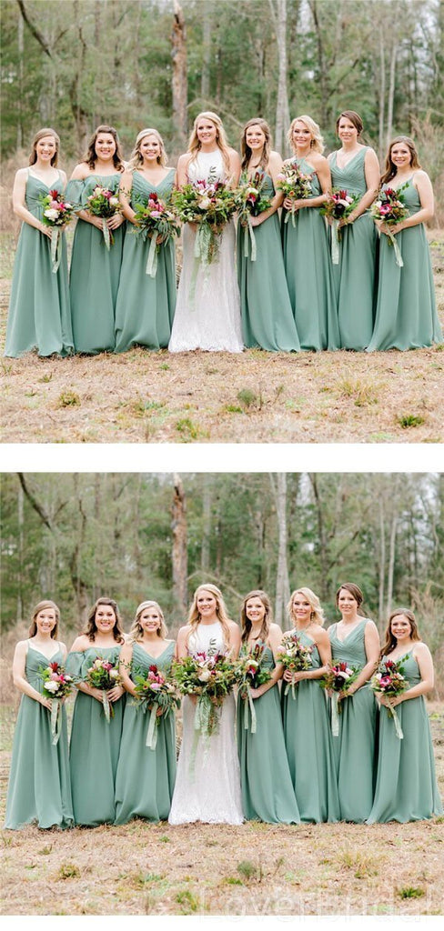 Mismatched Green Chiffon Long Cheap Bridesmaid Dresses Online, WG612