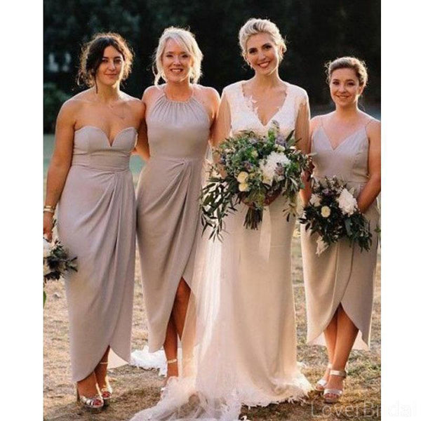 Mismatched Grey Short Cheap Bridesmaid Dresses Online, WG617