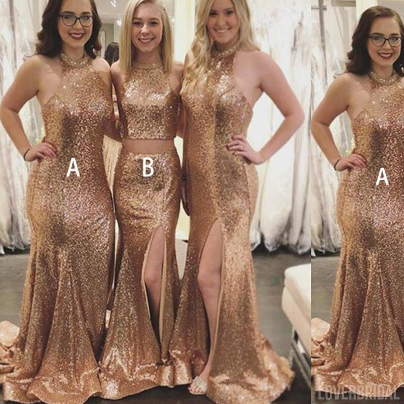 Mismatched Long Gold Sequin Sexy Cheap Bridesmaid Dresses, WG159