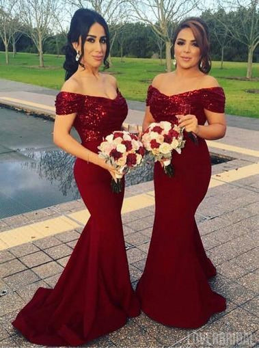 Mismatched Long Red Sequin Mermaid Bridesmaid Dresses, Cheap Custom 2018 Bridesmaid Dresses, Cheap Bridesmaid Gown, WG402