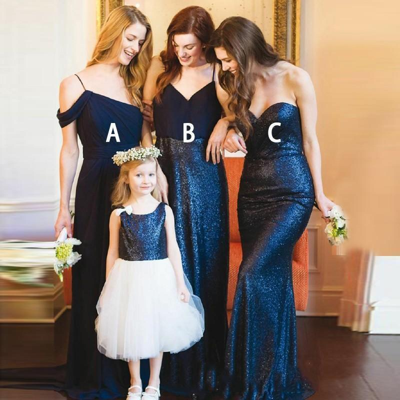 Mismatched Mermaid Cheap Long Navy Sequin Bridesmaid Dresses With Sleeves, WG220