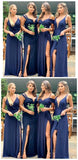 Mismatched Navy Blue Mermaid Cheap Long Cheap Bridesmaid Dresses Online, WG671