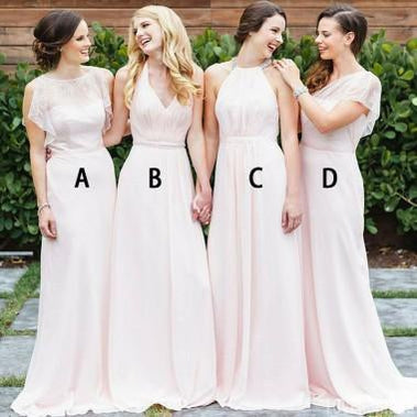 Mismatched Pale Pink Chiffon Cheap Long Bridesmaid Dresses Online, WG361