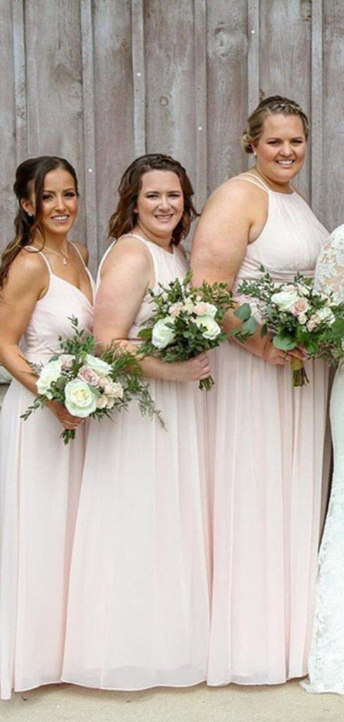 Mismatched Pale Pink Chiffon Long Bridesmaid Dresses Online, Cheap Bridesmaids Dresses, WG711