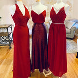 Mismatched Red Long Bridesmaid Dresses Online, Cheap Bridesmaids Dresses, WG712