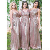 Mismatched Rose Gold Sequin Cheap Long Bridesmaid Dresses Online, WG551