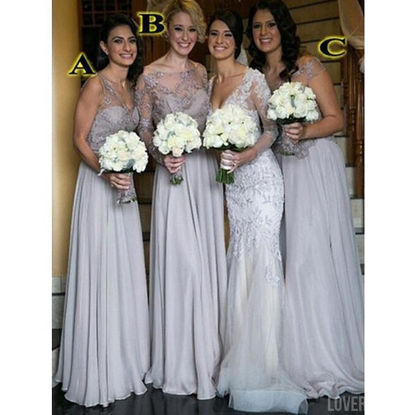 Mismatched Silver Cheap Long Elegant Wedding Bridesmaid Dresses, WG359