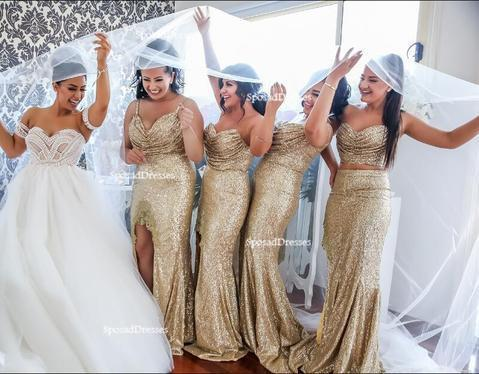 Mismatched Sparkly Gold Sequin Mermaid Bridesmaid Dresses, Cheap Unique Sequin Long Bridesmaid Gown, BD124