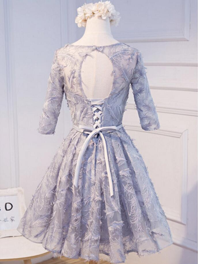 Modest Long Sleeve Gray Homecoming Prom Dresses, Affordable Short Party Prom Dresses, Perfect Homecoming Dresses, CM300