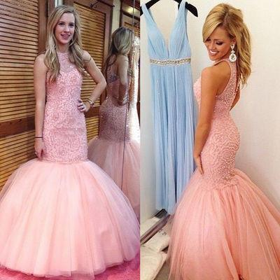 Navy Beaded Halter Mermaid Evening Prom Dresses, 2017 Long Blush Pink Party Prom Dress, Custom Long Prom Dresses, Cheap Formal Prom Dresses, 17074