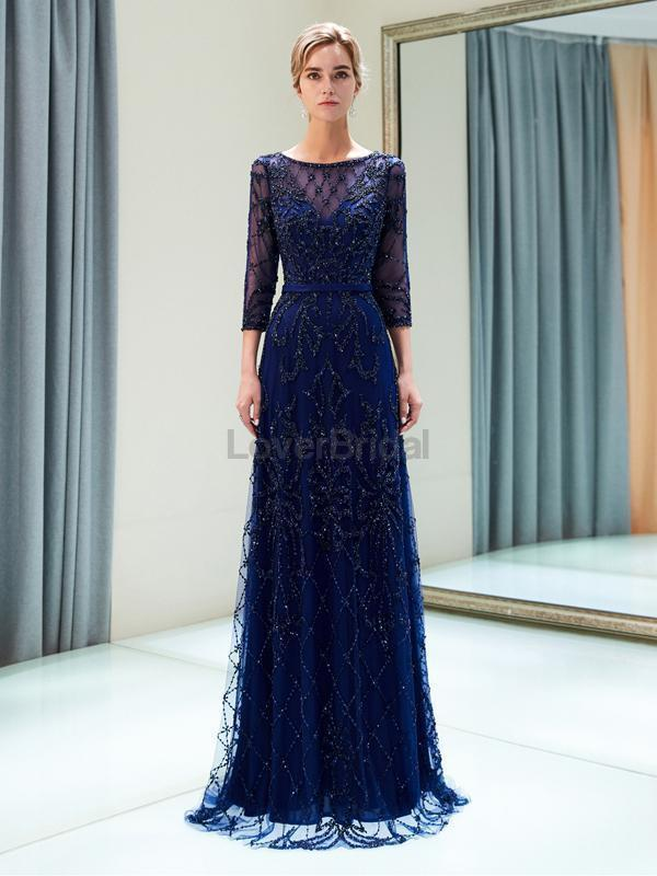 Navy Long Sleeves Lace Beaded Evening Prom Dresses, Evening Party Prom Dresses, 12052