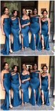 Navy Mismatched Mermaid Side Slit Cheap Long Cheap Bridesmaid Dresses Online, WG639