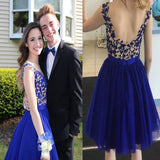 New Arrival Royal Blue open back elegant freshman formal cocktail homecoming prom dresses, BD00178