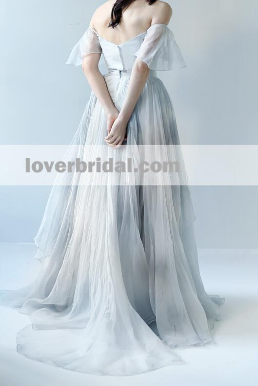 Off Shoulder A line Chiffon Ruffle Long Evening Prom Dresses, 17652