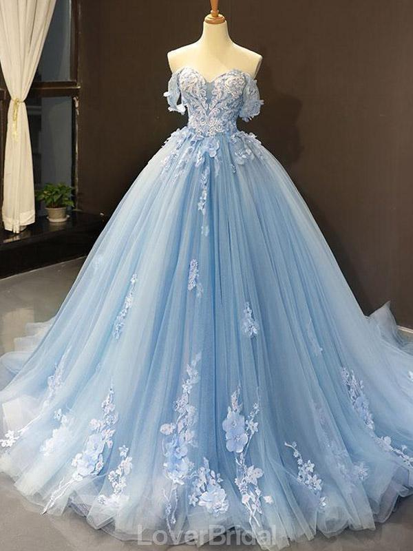 Off Shoulder Blue Handmade Flower Long Evening Prom Dresses, Evening Party Prom Dresses, 12163