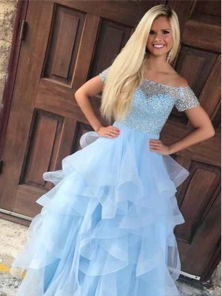 Off Shoulder Blue Ruffles A-line Long Evening Prom Dresses, 17593