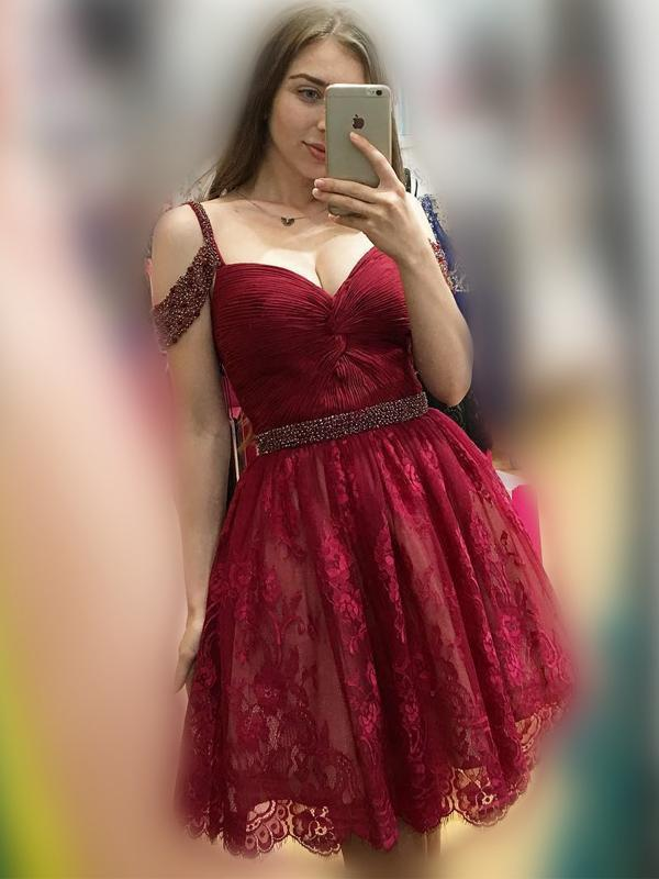Off Shoulder Cute Short Lace Dark Red Homecoming Dresses 2018, CM476