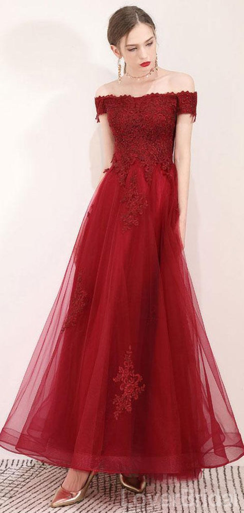 Off Shoulder Dark Red Lace Long Evening Prom Dresses, Cheap Party Custom  Prom Dresses, 18620