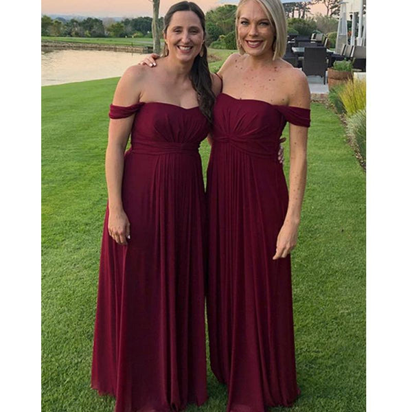 Off Shoulder Dark Red Long Bridesmaid Dresses Online, Cheap Bridesmaids Dresses, WG737