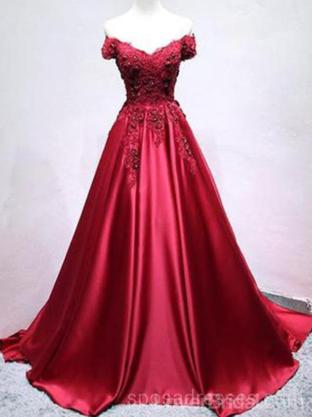 Off Shoulder Dark Red Long Evening Prom Dresses, Cheap Custom Party Prom Dresses, 18599