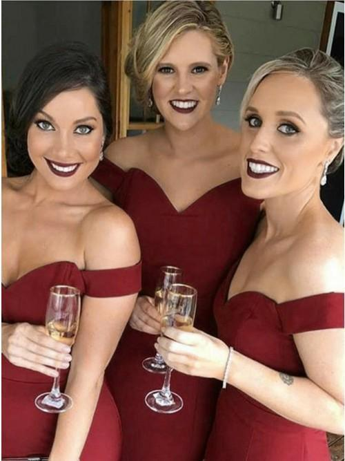 Off Shoulder Dark Red Mermaid Floor Length Cheap Bridesmaid Dresses Online, WG558